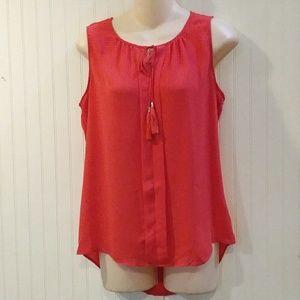 Rose & Olive sleeveless blouse w/tassel